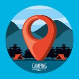 Camping zone with tents and pin pointer location. Vector illustration design vector illustration