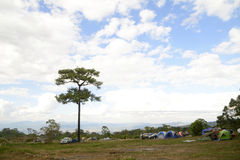 Camping zone with traveller Royalty Free Stock Images