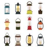 Campingowa latarniowa nafcianej lampy wektoru kolekcja ilustracja wektor