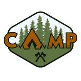 Campingowa odznaka, emblemat Zdjęcia Stock