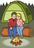 campingowa para ilustracji