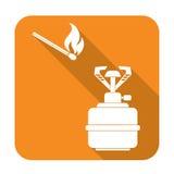Campingowa piecowa ikona Zdjęcie Stock