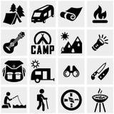 Campingowa wektorowa ikona ustawiająca na szarość Zdjęcie Stock