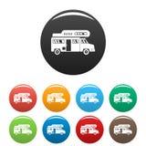 Campingowe ciężarowe ikony ustawiający kolor ilustracja wektor