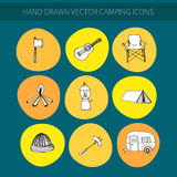 Campingowe ikony Zdjęcia Stock