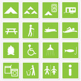campingowe ikony Fotografia Royalty Free