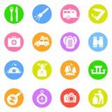 Campingowe ikony w kolorów okręgach Ilustracji