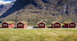 Campingowe kabiny w Norwegia obraz royalty free