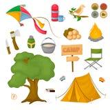 Campingowej dziecko obozu letniego parka zabawy dzieciństwa ogniska wektorowej ilustracyjnej natury plenerowy czas wolny Fotografia Stock