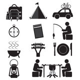 Campingowej I Plenerowej aktywności ikony set Fotografia Royalty Free