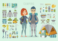 Campingowy infographic ilustracja wektor