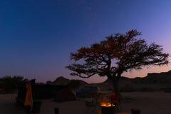 Campingowy miejsce z gwiaździstym niebem nocą Przygoda w parku narodowym, Afryka Płonący obozu ogień, namiot z dużym akacjowym dr Zdjęcia Stock