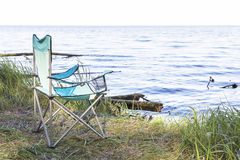 Campingowy miejsce z karłami blisko morza Obrazy Royalty Free