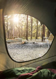 Campingowy wschód słońca Przez namiotu Obraz Stock