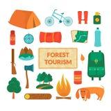 Campingowy wyposażenie, wektorowe ikony ilustracji