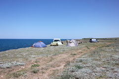 Campingplats i natur Royaltyfria Foton