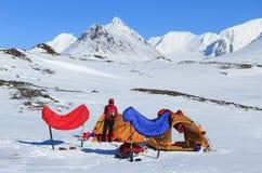Campingplats i snön royaltyfri bild