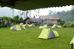 Campingplats längs det Kokoda spåret arkivbild