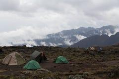 Campingplats på Mt kilimanjaro Arkivbild