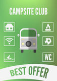 Campingplatsklubbabefordran som är infographic med den retro bilen och vita symboler Plan design stock illustrationer