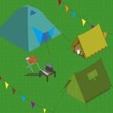 Campingzeltstellenfeuer Lizenzfreies Stockbild