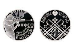Campionato del mondo di biathlon della moneta d'argento fotografia stock