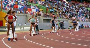 Campionato di atletismo, lle donne dei 400 tester Immagine Stock
