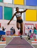 Campionato di atletismo, Sandra Tavares fotografia stock