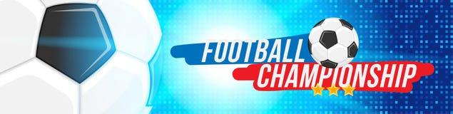 Campionato di calcio Formato orizzontale del modello dell'insegna con una palla di calcio e testo su un fondo con un effetto dell Fotografie Stock