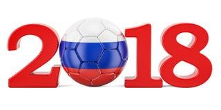 Campionato 2018 di calcio nel concetto della Russia, rappresentazione 3D Fotografie Stock Libere da Diritti