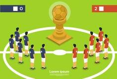 Campionato di Team Players On Field Cup di calcio Immagini Stock Libere da Diritti