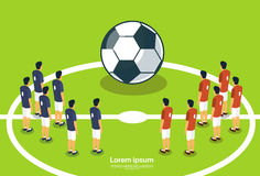 Campionato di Team Players On Field Start di calcio Immagini Stock Libere da Diritti