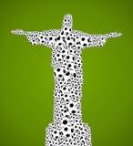 Campionato 2014, palle di calcio del mondo del Brasile di forma di Gesù Cristo royalty illustrazione gratis