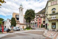 Campione d'Italia村庄在湖卢加诺的 免版税库存图片