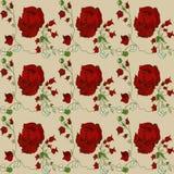 Campione di un modello della carta da parati della rosa rossa Immagine Stock
