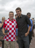 Campione Marin Cilic di US Open 2014 con il fan di tennis croato sulla cima della piattaforma di osservazione della roccia al cen Fotografia Stock Libera da Diritti