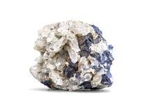 Campione minerale del minerale metallico della galena un minerale della terra rara di zinco e di cavo isolati su bianco con il pe Immagini Stock