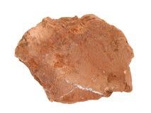 Campione naturale della roccia della siltite con le vene del quarzo in crepe su fondo bianco Immagine Stock Libera da Diritti
