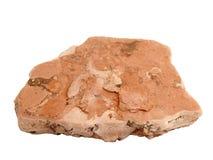 Campione naturale della roccia della marna di marlstone su fondo bianco Fotografia Stock