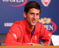 Campione Novak Djokovic del Grande Slam di sette volte durante la conferenza stampa a Billie Jean King National Tennis Center Immagine Stock Libera da Diritti