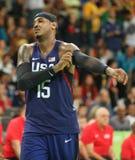 Campione olimpico Carmelo Anthony del gruppo U.S.A. nell'azione alla partita di pallacanestro del gruppo A fra il gruppo U.S.A. e Immagini Stock Libere da Diritti