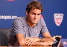 Campione Roger Federer del Grande Slam di diciassette volte durante la conferenza stampa a Billie Jean King National Tennis Center Fotografia Stock