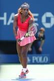 Campione Serena Williams del Grande Slam di sedici volte durante la seconda partita del giro all'US Open 2013 immagini stock libere da diritti