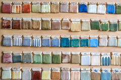 Campioni della pittura delle terraglie sulla parete Fotografia Stock Libera da Diritti