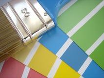 Campioni della vernice e della spazzola fotografia stock
