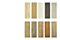 Campioni di pavimento di legno di struttura del laminato, impiallacciatura, piastrella per pavimento del vinile fotografia stock