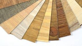 Campioni di vinile e del modello di legno laminato Fotografia Stock