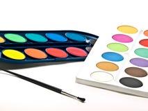 Campioni e spazzola di colore Fotografia Stock