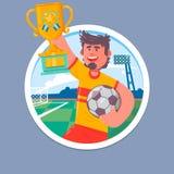 Campioni felici di calcio con la tazza dei vincitori Tazza di calcio, illustrazione di vettore di campionato di calcio Fotografia Stock