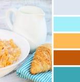 Campioni sani della tavolozza di colore della prima colazione Fotografie Stock Libere da Diritti